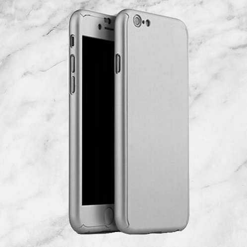 360 Grad Cover Case Hülle iPhone 7 Silber