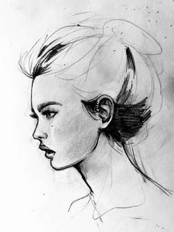 Profile woman study