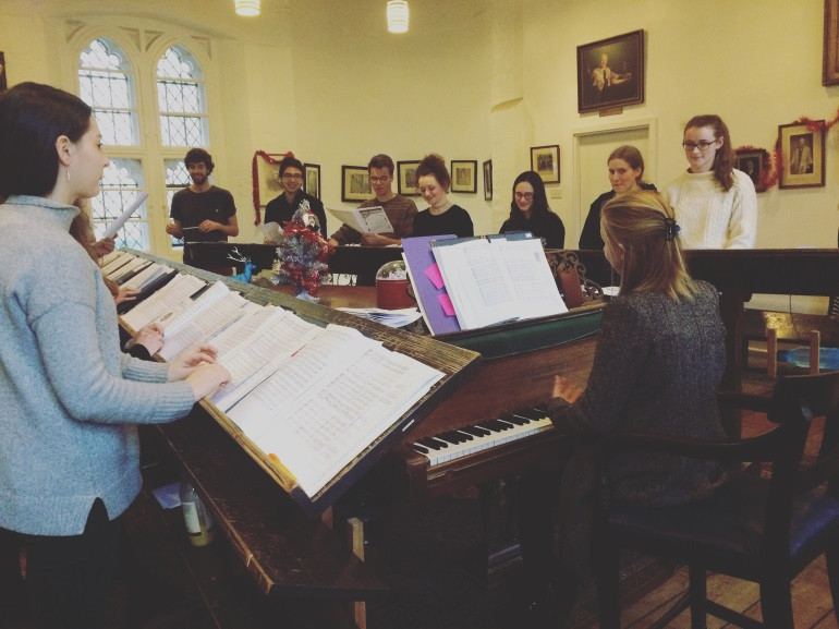 Rehearsing in the Camera Cantorum