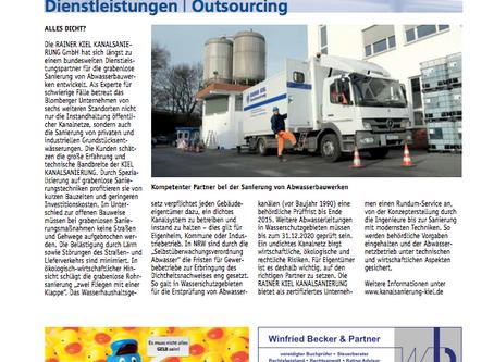 Thema Dienstleistung und Outsourcing Beitrag in der Lippe Wissen&Wirtschaft IHK