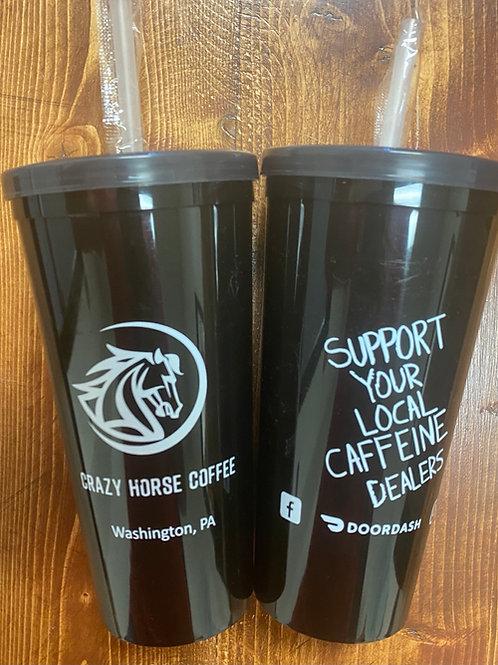 Black plastic reusable cup