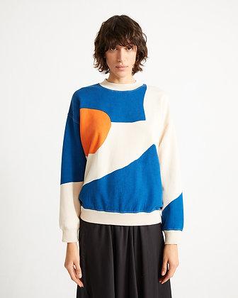 Abstract Fullprint Sweatshirt in creme von Thinking Mu