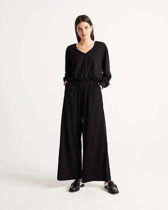 Sonata Jumpsuit in schwarz von Thinking Mu