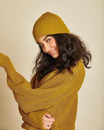 Kopie von Rib Knit Beanie Bryant in Muddy Yellow von Jan n June