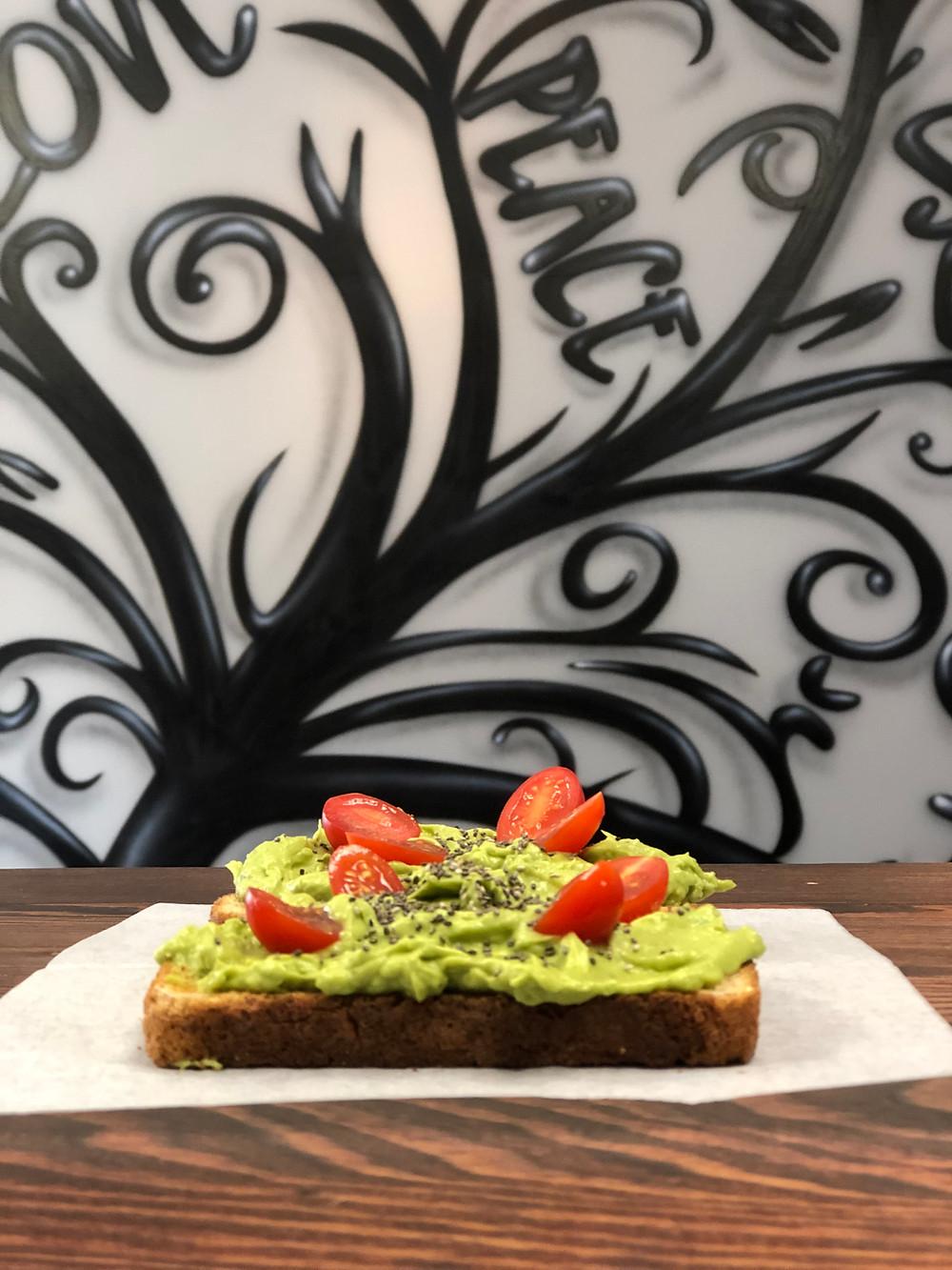 12 Grain Avocado Toast with chia seeds, tomato, balsalmic glaze