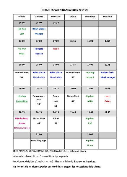 horari espai en dansa curs 2019-20 forma
