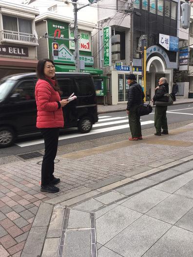 中野新橋駅頭で朝のご挨拶です
