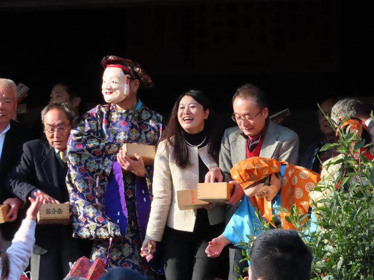 本郷氷川神社にて豆まき