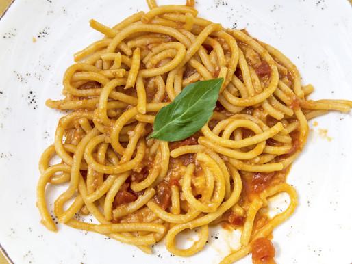 Pici in a classic tomato sauce