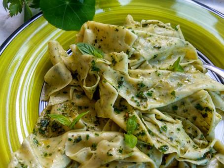 Mandilli di Saea with Pesto sauce