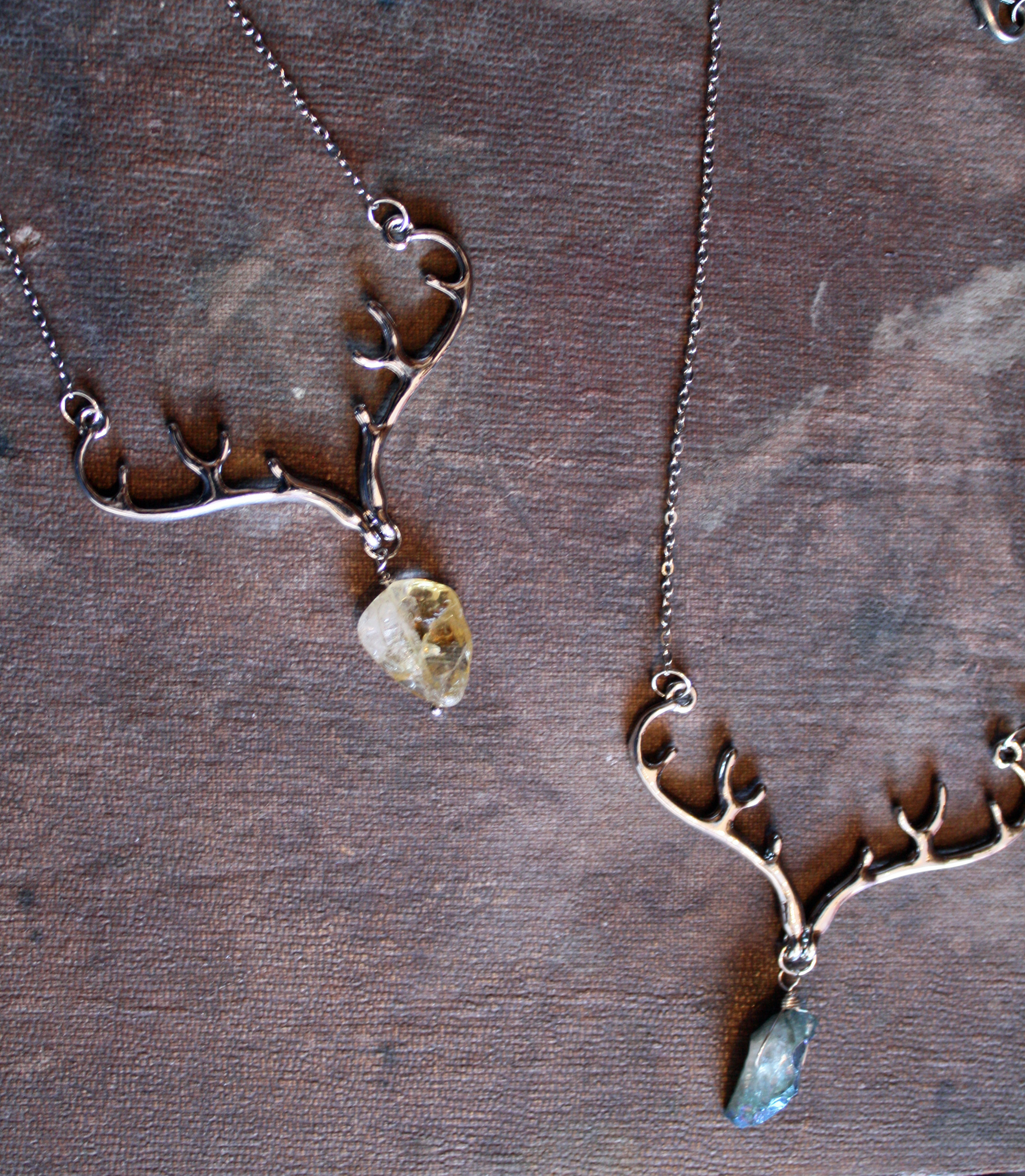 antler and rough stone necklace