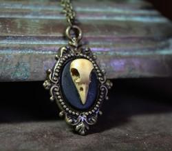 Gothic Bird Skull Cameo Necklace