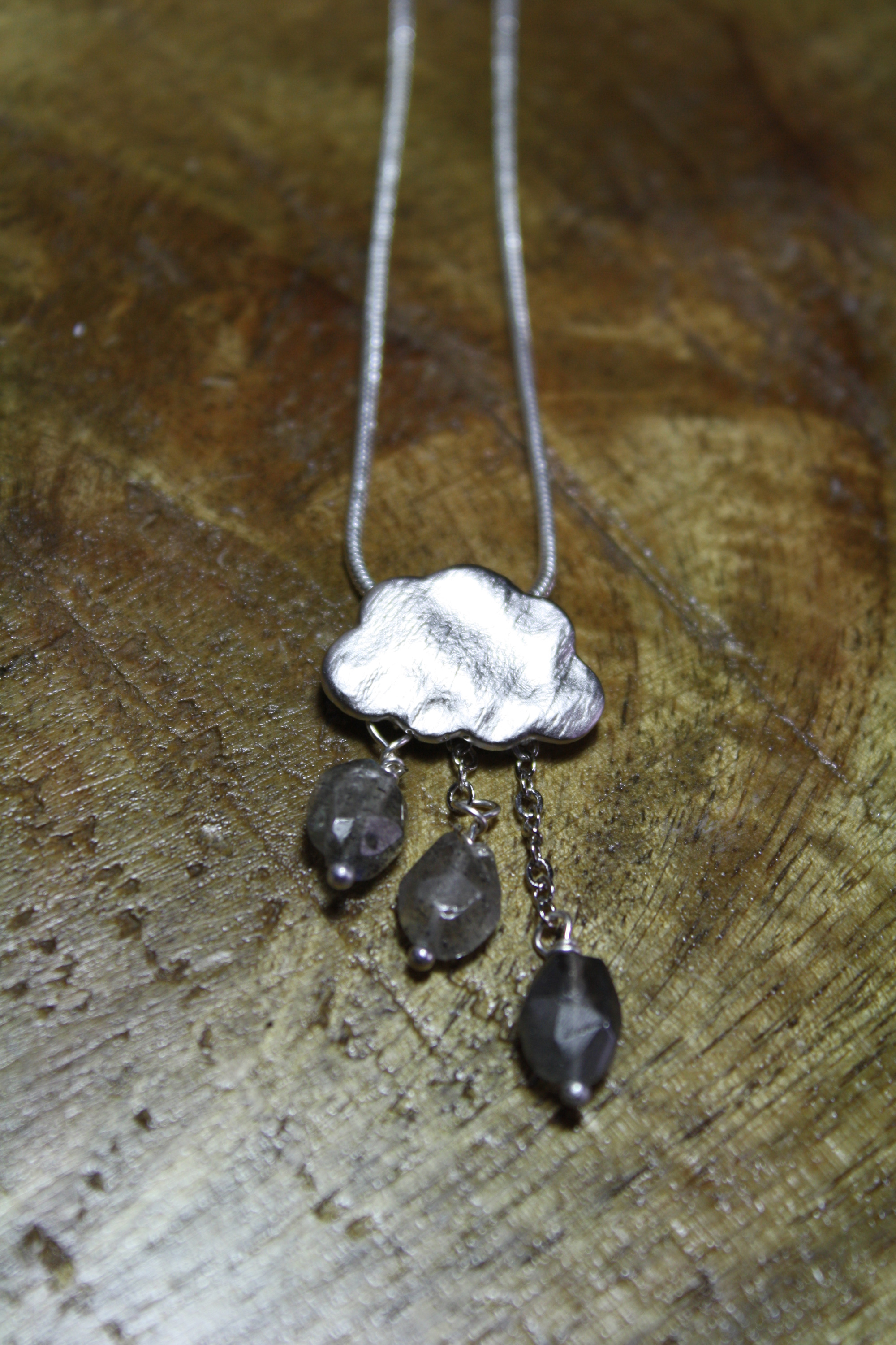 silver rain cloud necklace