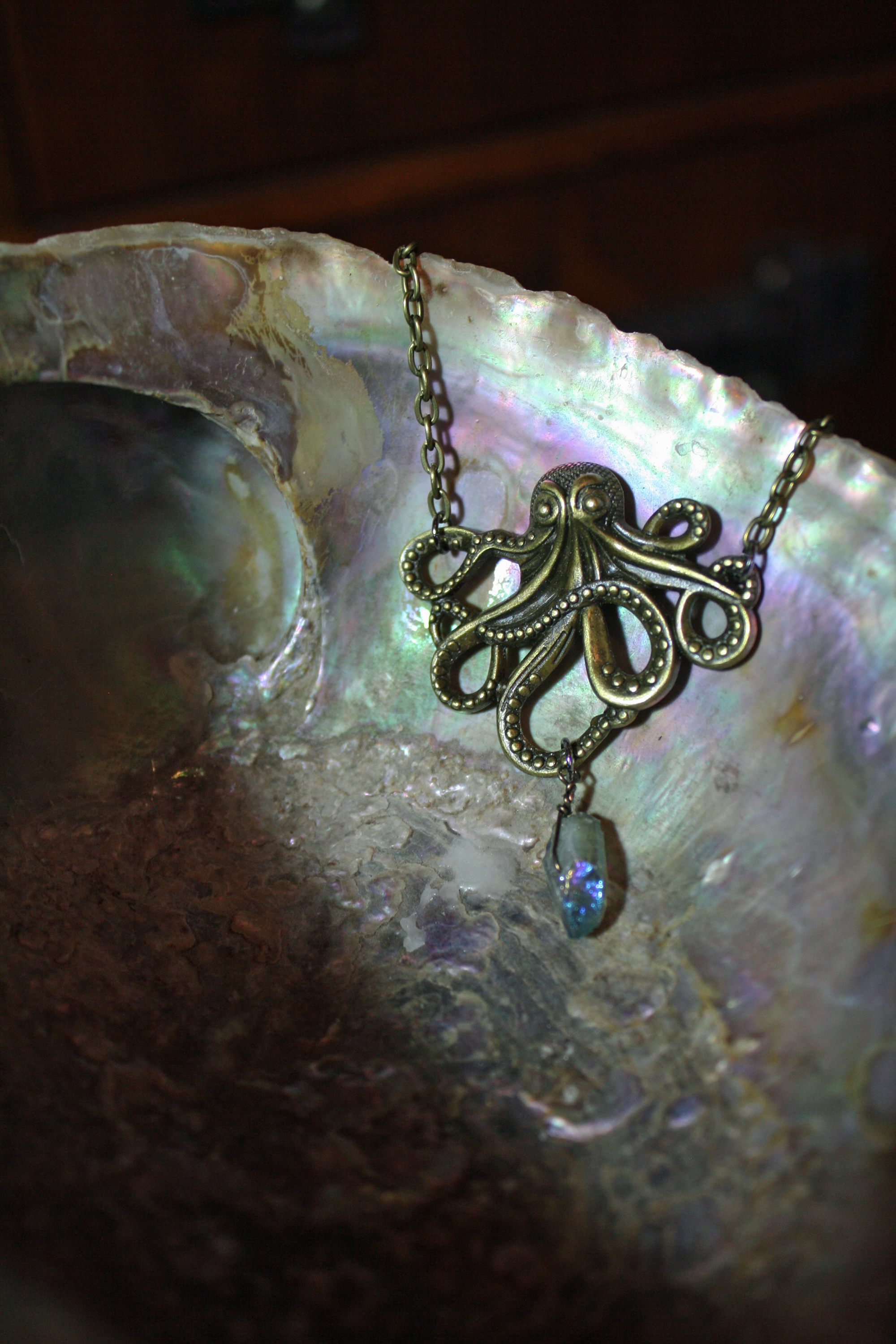 Steampunk Octopus and Quartz necklac
