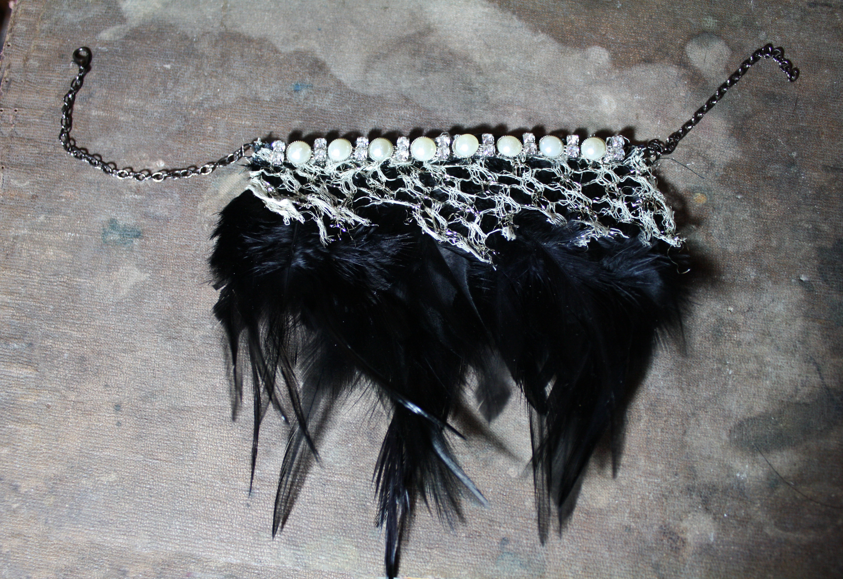 raven gothic noir feather choker