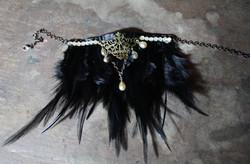 black feather steampunk choker