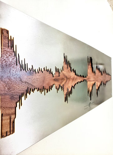 Metal Soundwave on Hardwood Backing Board