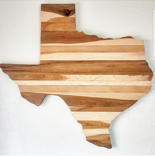 Merveilleux Pecan Wood Texas Wall Art