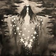 Inktober 2018 day 2. Tranquil- Moon Goddess Selene