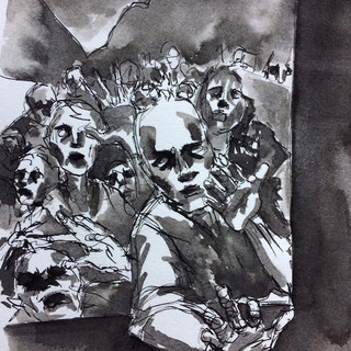 Inktober 2017 Days 12,14 and 14 . Shattered, Teeming and Fierce-Zombies!
