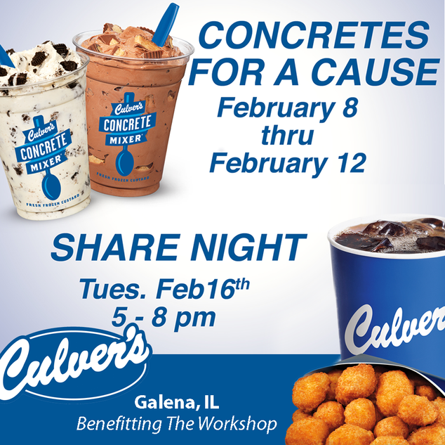 Culver's Give Local Program to benefit The Workshop in February.