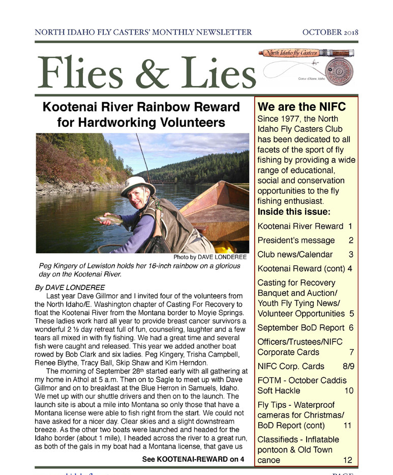 October 2018 Flies and Lies Newsletter