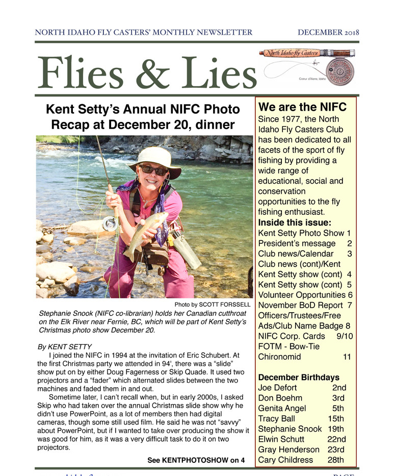December 2018 Flies and Lies Newsletter