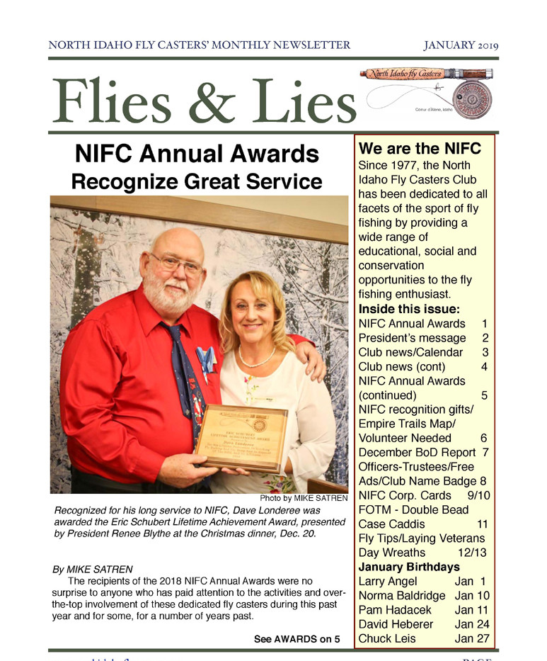 January 2019 Flies and Lies Newsletter