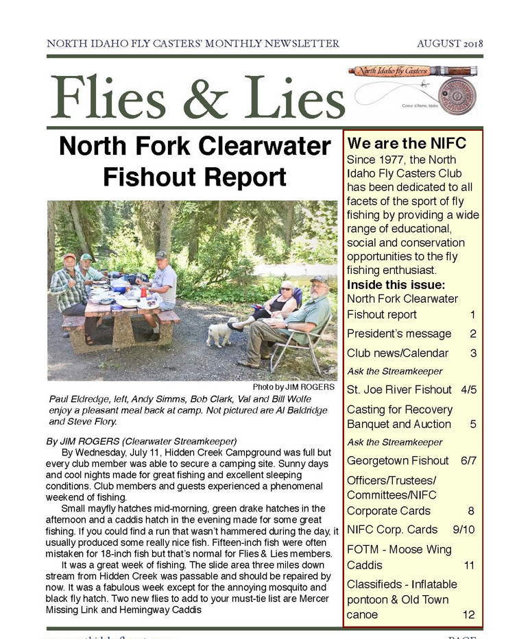 2018 August Flies and Lies Newsletter