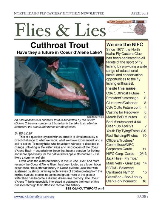 April 2018 Flies and Lies Newsletter