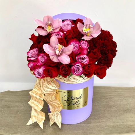 Cymbidium Orchids & Roses Box