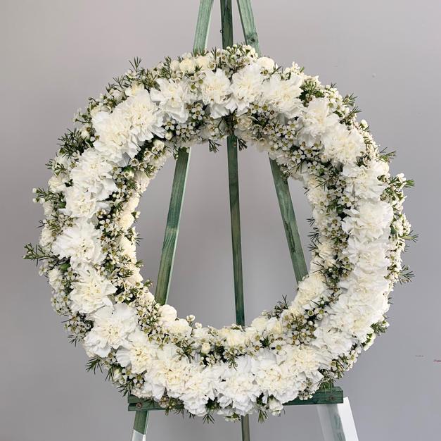 Carnation Wax Flower Wreath