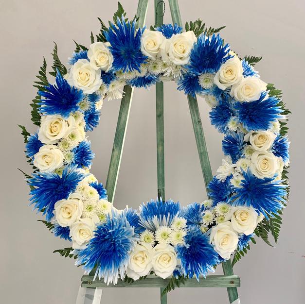 Blue Mum Wreath