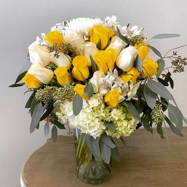 Yellow Rose & Eucalyptus