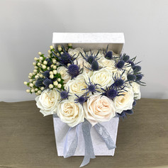 White Rose with Blue Thistle