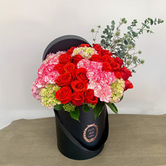 Large Box w/ 2 Dz Roses & 20 Carnations