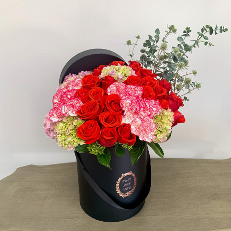 Large Box with 2 Dz Roses & 20 Carnation