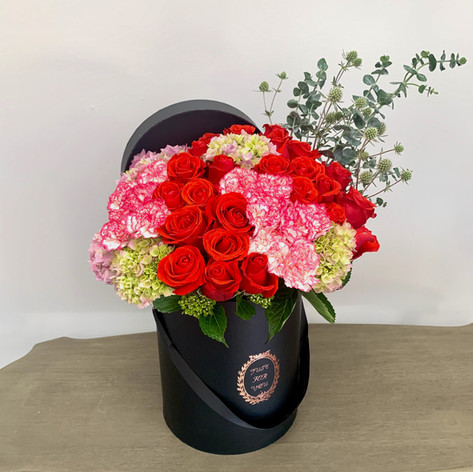 Large Box w/ 2 Dz Roses & 20 Carnations