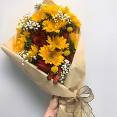 Sunflower & Dozen Roses Bouquet
