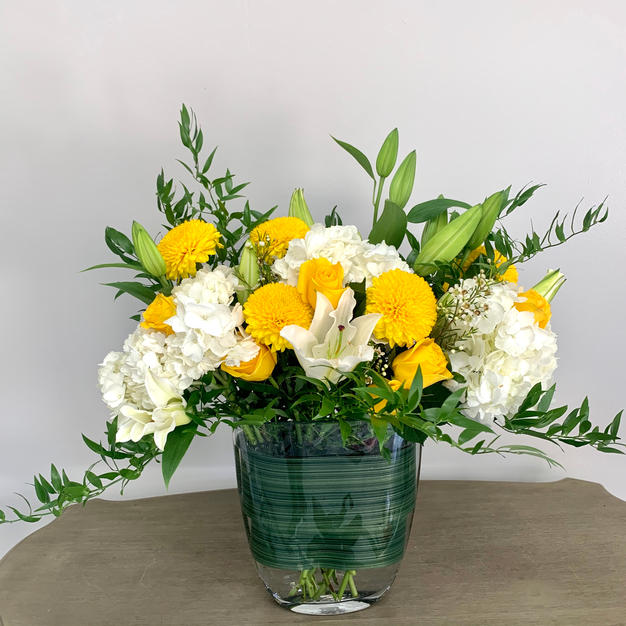 Yellow Rose and Chrysanthemum
