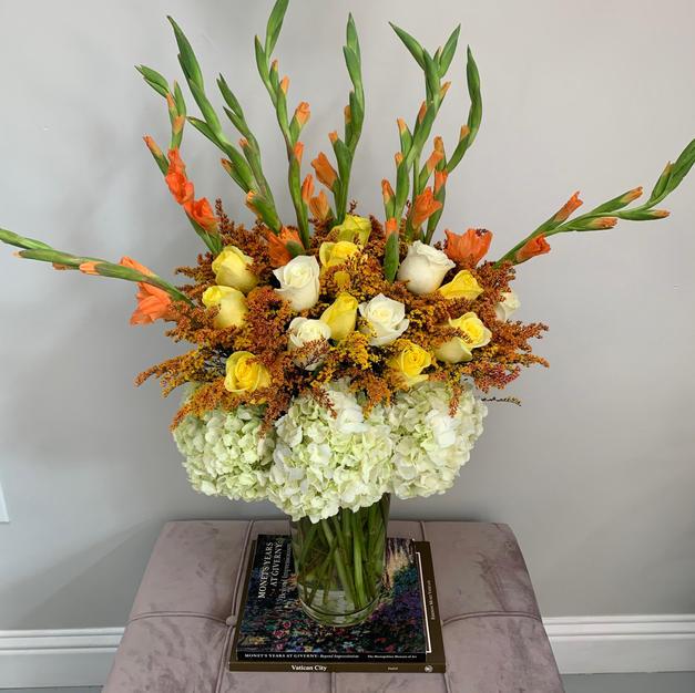 Funerary Vase with Gladiolus Rose Mix