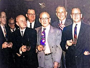 1960 Sawyer's Xmas party Karl Kurz, anon, Wm Gruber, Lad Goodman, Tom Meyer in vm tie, Har