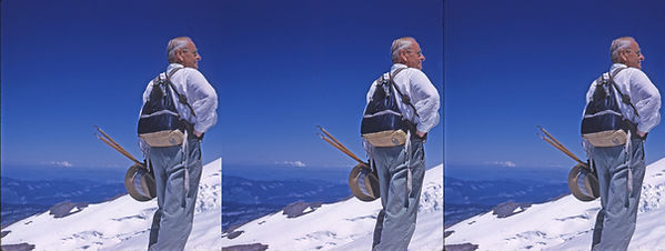 William Gruber hiking high in the snow c