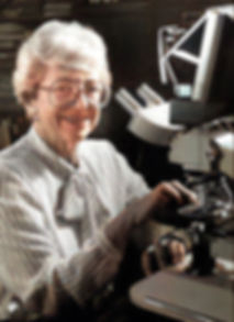 Vivian Walworth portrait with microscope