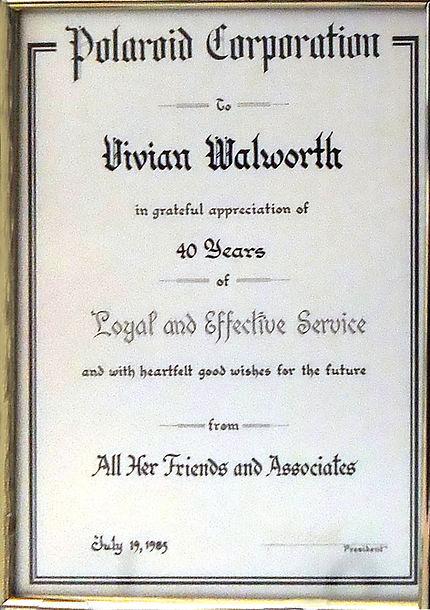 1985 Vivian Walworth Polaroid Corp 40 ye