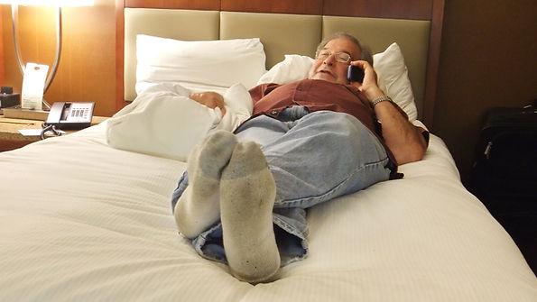 Sheldon Aronowitz on the phone resting o