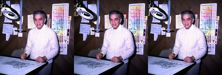 1982_Jack_Kirby_working_at_his_home_tabl