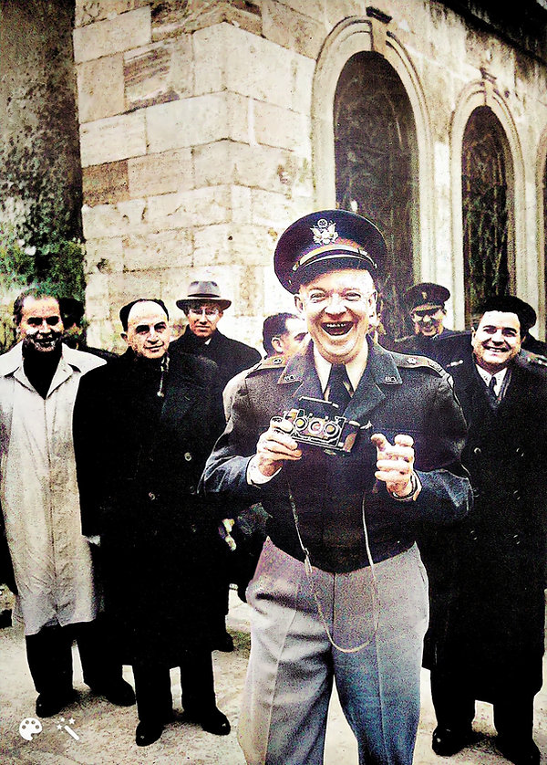 Dwight D Eisenhower happy with his Stereo Realist camera-Enhanced-Colorized.jpg