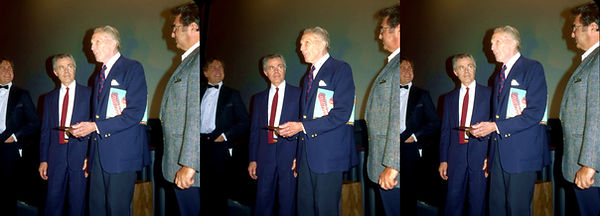 1990_04_06 Manager, Chris Condon, Vincent Price and Paul Picerno at Vagabond Theater by Ra