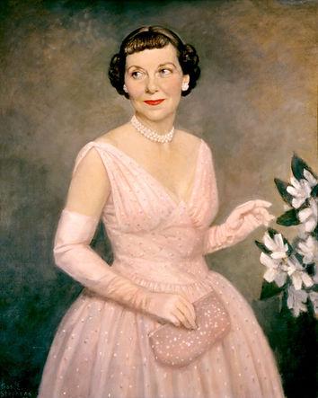 Mamie Eisenhower in her inaugural gown, painted in 1953 by Thomas Stevens.jpg